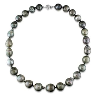 Miadora 14k White Gold Tahitian Pearl Necklace (12-14 mm)