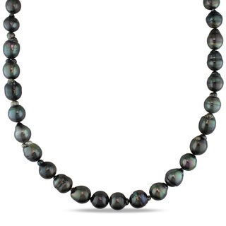 Miadora 14k White Gold Tahitian Black Pearl Necklace (9-11 mm)