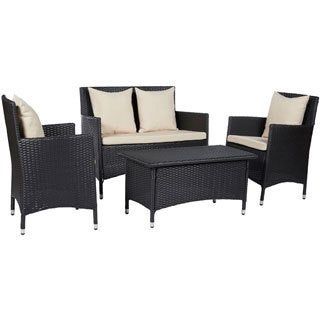 angelo:HOME Napa Estate Sandy Brown 4 piece Indoor/Outdoor Resin Wicker Set