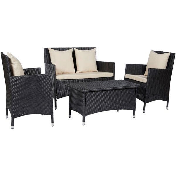 Angelo home napa estate sandy brown 4 piece indoor outdoor resin wicker set 16240719 Angelo home patio furniture
