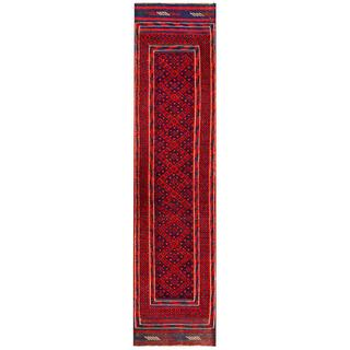 Semi-antique Afghan Hand-knotted Tribal Balouchi Red/ Navy Wool Rug (1'10 x 7'10)