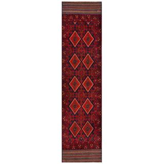 Semi-antique Afghan Hand-knotted Tribal Balouchi Red/ Navy Wool Rug (2' x 8'6)