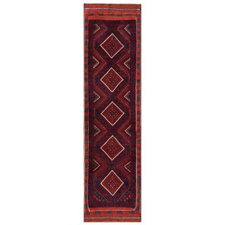 Semi-antique Afghan Hand-knotted Tribal Balouchi Red/ Navy Wool Rug (2'2 x 8'4)