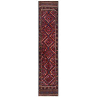 Semi-antique Afghan Hand-knotted Tribal Balouchi Maroon/ Blue Wool Runner Rug (1'8 x 8'10)