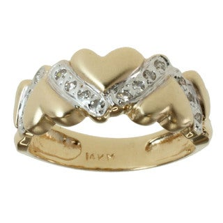 "Michael Valitutti 14k Yellow Gold and Diamond ""Hearts"" Band Ring"