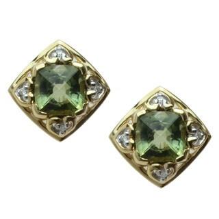 Michael Valitutti 18k Yellow Gold Green Tourmaline and Diamond Earrings