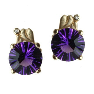 Michael Valitutti 14k Gold Amethyst and Diamond Earrings