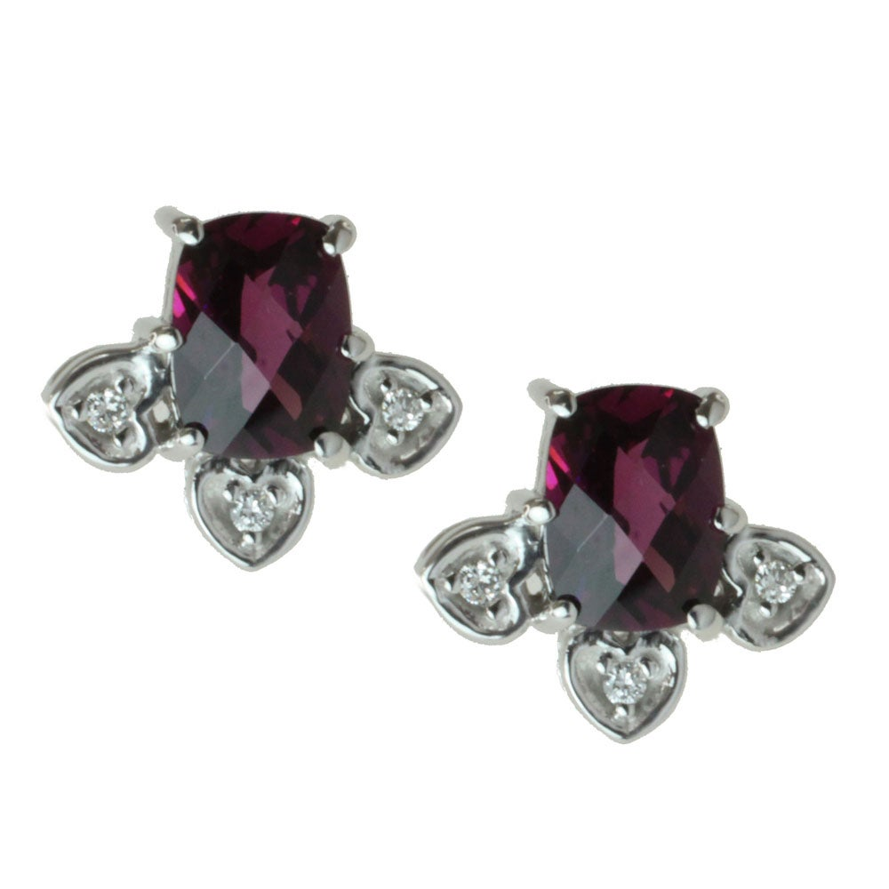 Michael Valitutti 14k White Gold Rhodolite and Diamond Earrings