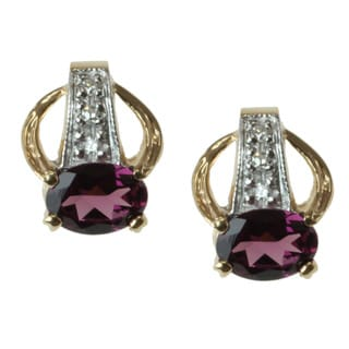 Michael Valitutti 14k Gold Rhodolite and Diamond Earrings