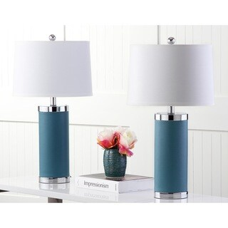 Safavieh Lighting 26-inches Blue Leather Column Table Lamp (Set of 2)