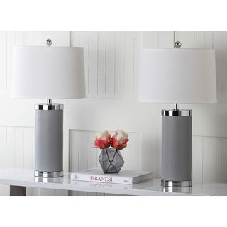Safavieh Indoor 1-light Grey Leather Column Table Lamp (Set of 2)