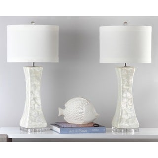 Safavieh Indoor 1-light White Shelley Concave Table Lamp (Set of 2)
