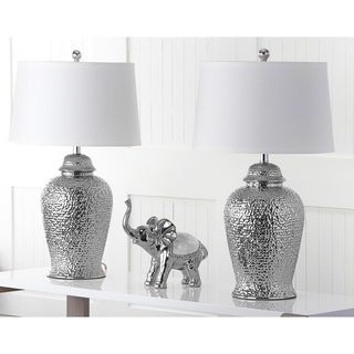 Safavieh Lighting 27.75-inches Silver Metallica Ginger Jar Lamp (Set of 2)