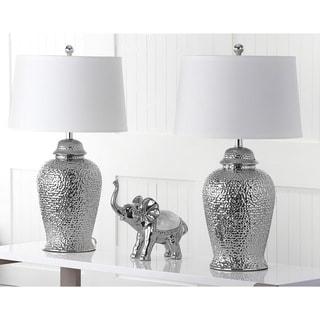 "Safavieh Lighting 28-inch Silver Sterling Ginger Jar Lamp (Set of 2) - 16""x16""x27.5"""