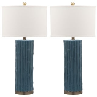 Safavieh Indoor 1-light Blue Bamboo Column Table Lamp (Set of 2)