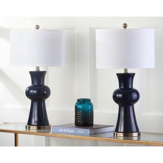 Safavieh Lighting 30-inches Navy Lola Column Lamp (Set of 2)