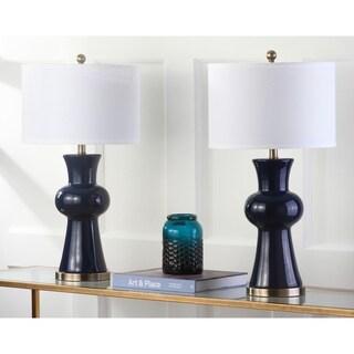 "Safavieh Lighting 30-inch Navy Lola Column Lamp (Set of 2) - 15""x15""x30"""
