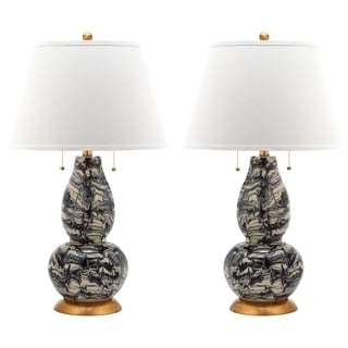 Safavieh Lighting 28.5-inch Black and White Color Swirls Glass Table Lamp