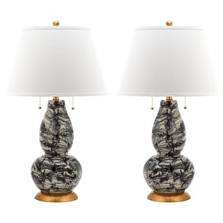 Safavieh Indoor 1-light Blackk and White Color Swirls Glass Table Lamp (Set of 2)