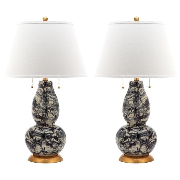 Safavieh indoor 1 light blackk and white color swirls glass table lamp