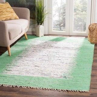 Safavieh Hand-woven Montauk Ivory/ Sea Green Cotton Rug (4' x 6')