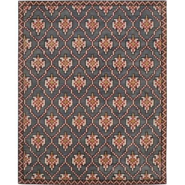 Safavieh Pl537a Persian Legend Wool Hand Tufted Rust Navy: Isaac Mizrahi By Safavieh English Trellis Navy/ Rust Wool