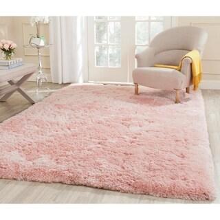 Safavieh Handmade Shag Pink Polyester Rug (4' x 6')