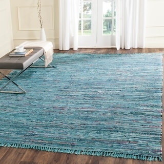 Safavieh Hand-woven Rag Rug Blue Cotton Rug (9' x 12')