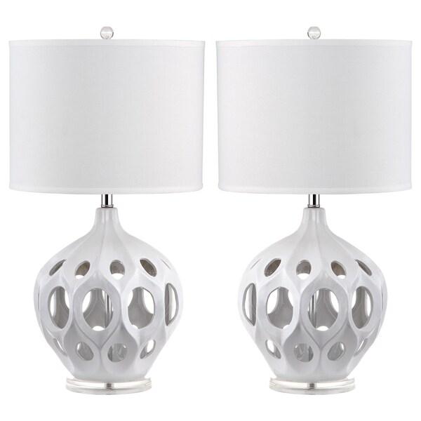 Safavieh Lighting 29-inch White Regina Ceramic Table Lamp