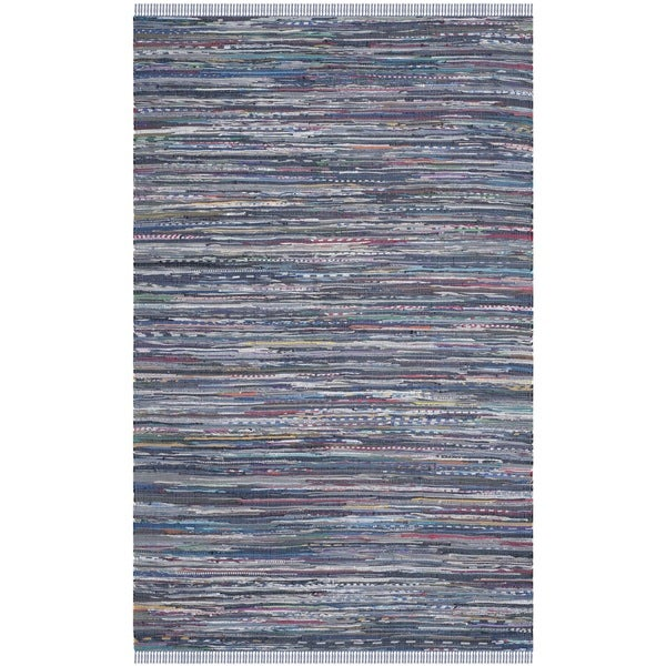 Gypsy Stripe Turquoise Grey Woven Cotton Rug: Safavieh Hand-woven Rag Rug Purple Cotton Rug (5' X 8