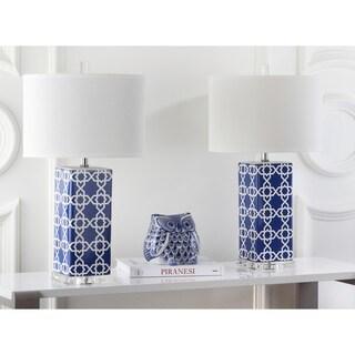 Safavieh Indoor 1-light Navy Quatrefoil Table Lamp (Set of 2)