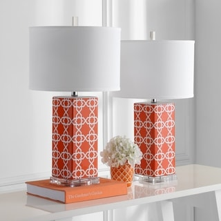 Safavieh Indoor 1-light Orange Quatrefoil Table Lamp (Set of 2)