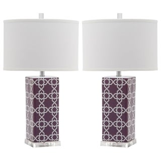 Safavieh Indoor 1-light Light Purple Quatrefoil Table Lamp (Set of 2)