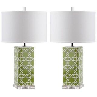 Safavieh Indoor 1-light Green Quatrefoil Table Lamp (Set of 2)