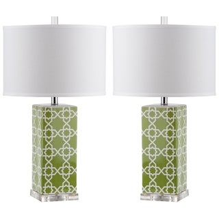 Safavieh Indoor 1-light Green Quatrefoil Table Lamp (Set of 2)