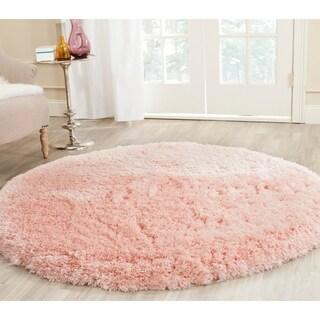 Safavieh Handmade Shag Pink Polyester Rug (5' Round)