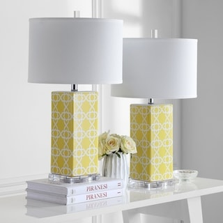Safavieh Indoor 1-light Yellow Quatrefoil Table Lamp (Set of 2)