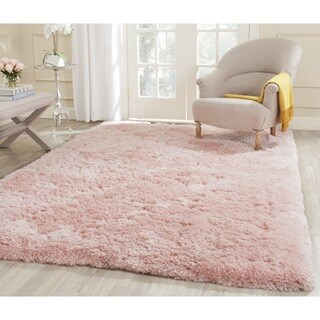 Safavieh Handmade Shag Pink Polyester Rug (5' Square)