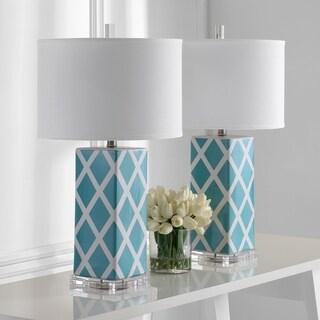 "Safavieh Lighting 27-inch Light Blue Garden Lattice Table Lamp (Set of 2) - 15""x15""x27"""