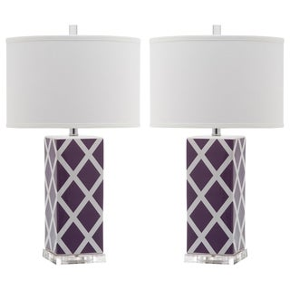 Safavieh Indoor 1-light Light Purple Garden Lattice Table Lamp (Set of 2)