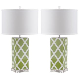 Safavieh Indoor 1-light Green Garden Lattice Table Lamp (Set of 2)