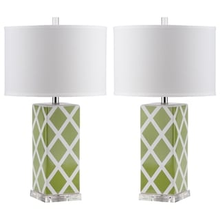 Safavieh Lighting 27-inch Green Garden Lattice Table Lamp (Set of 2)
