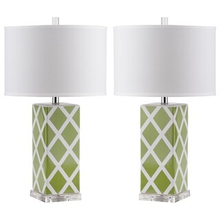 Safavieh Indoor 1-light Green Garden Lattice Table Lamp (Set of 2)