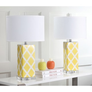 Safavieh Indoor 1-light Yellow Garden Lattice Table Lamp (Set of 2)