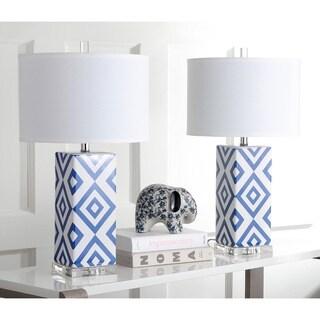 Safavieh Lighting 27-inches Navy Diamonds Table Lamp (Set of 2)