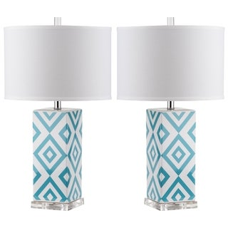 Safavieh Lighting 27-inches Light Blue Diamonds Table Lamp (Set of 2)