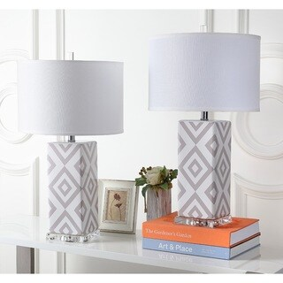 Safavieh Indoor 1-light Grey Diamonds Table Lamp (Set of 2)