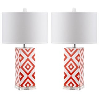 Safavieh Indoor 1-light Orange Diamonds Table Lamp (Set of 2)