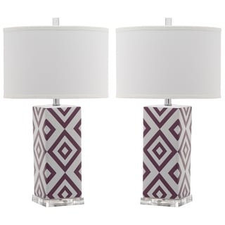 Safavieh Lighting 27-inches Light Purple Diamonds Table Lamp (Set of 2)