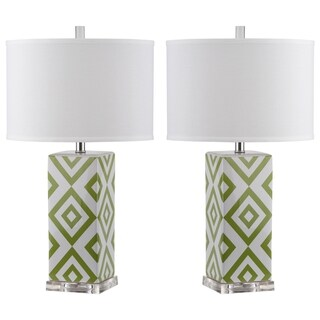 Safavieh Lighting 27-inch Green Diamonds Table Lamp (Set of 2)